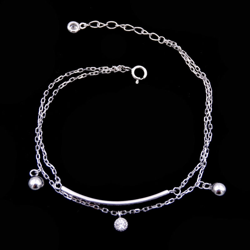 925 Silver Cubic Zirconia Bracelet , Double Chain Bracelet With Ball Charming Item