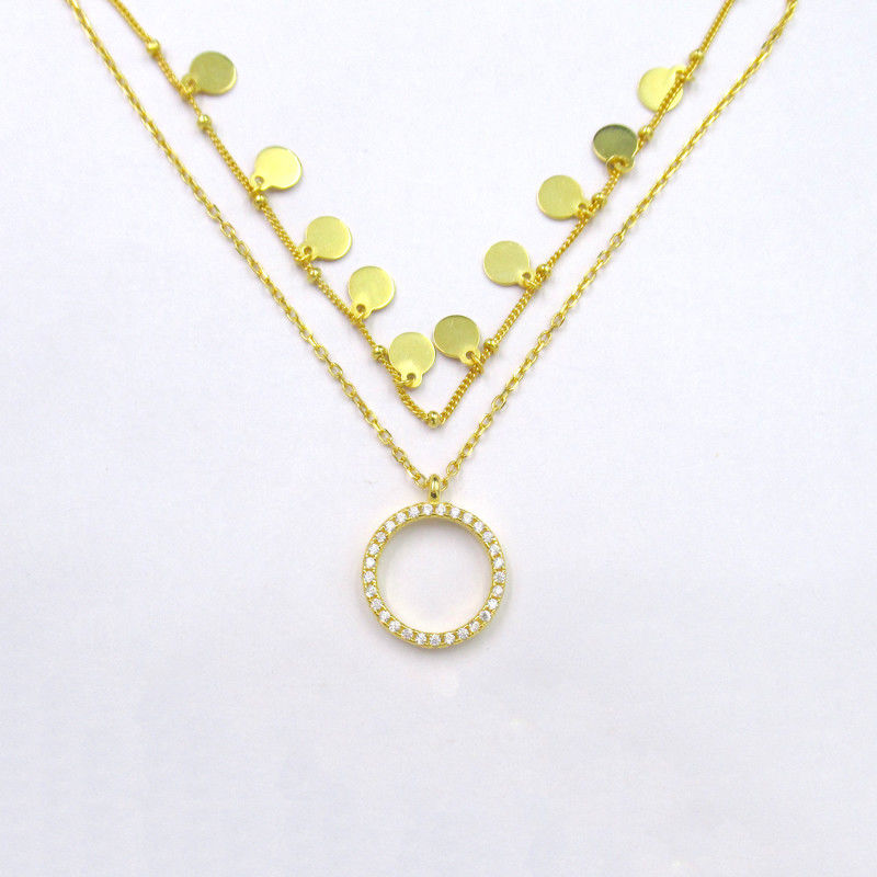 Zircon Luxury Plated 14K Gold Pendant Necklace with Round Shaped and Little Item Design 925 Silver Jewelry