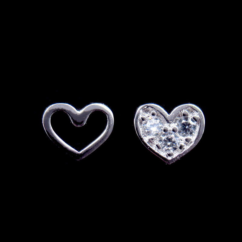 Lovely Sweetheart Silver Cubic Zirconia Earrings For Girl Friend Gift